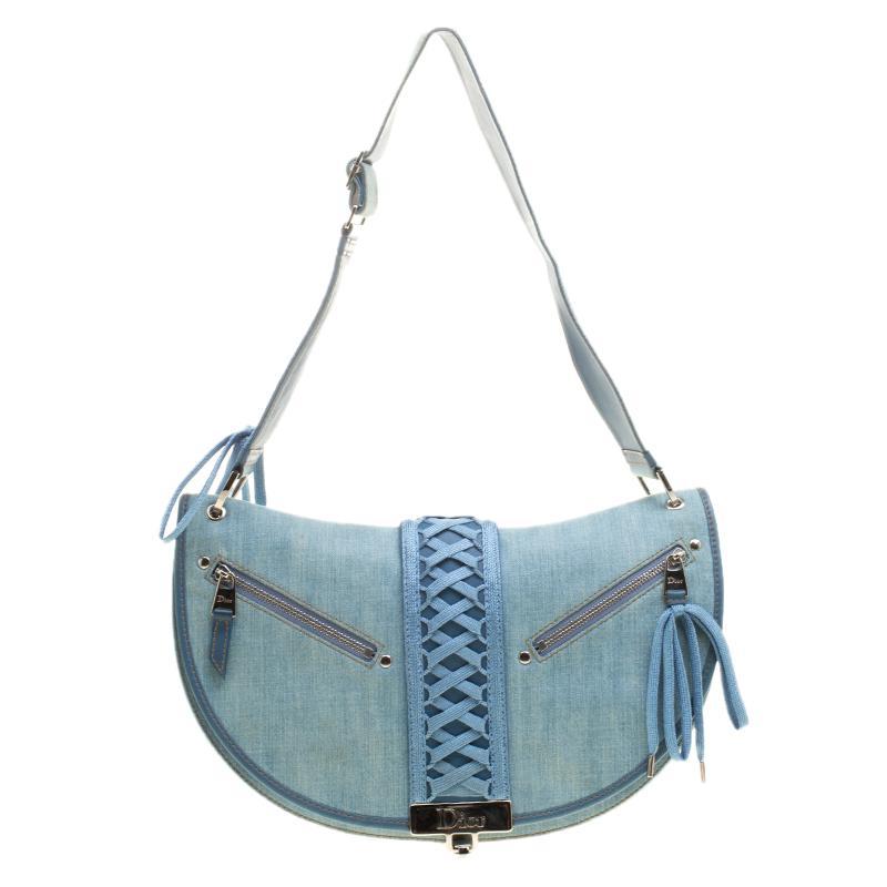Lyst - Dior Denim Shoulder Bag in Blue e5208566efe5c