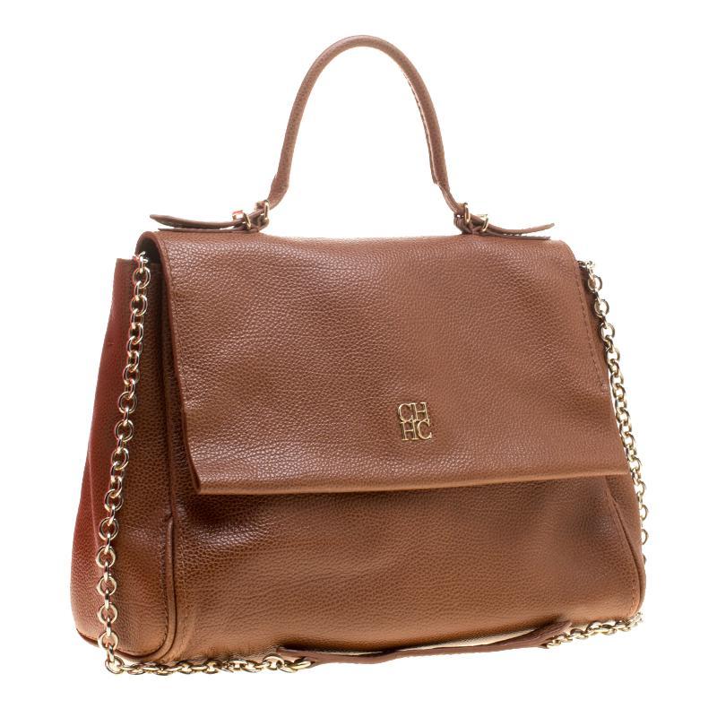 Lyst - Carolina Herrera Leather Minueto Flap Bag in Brown b0479aa81b550