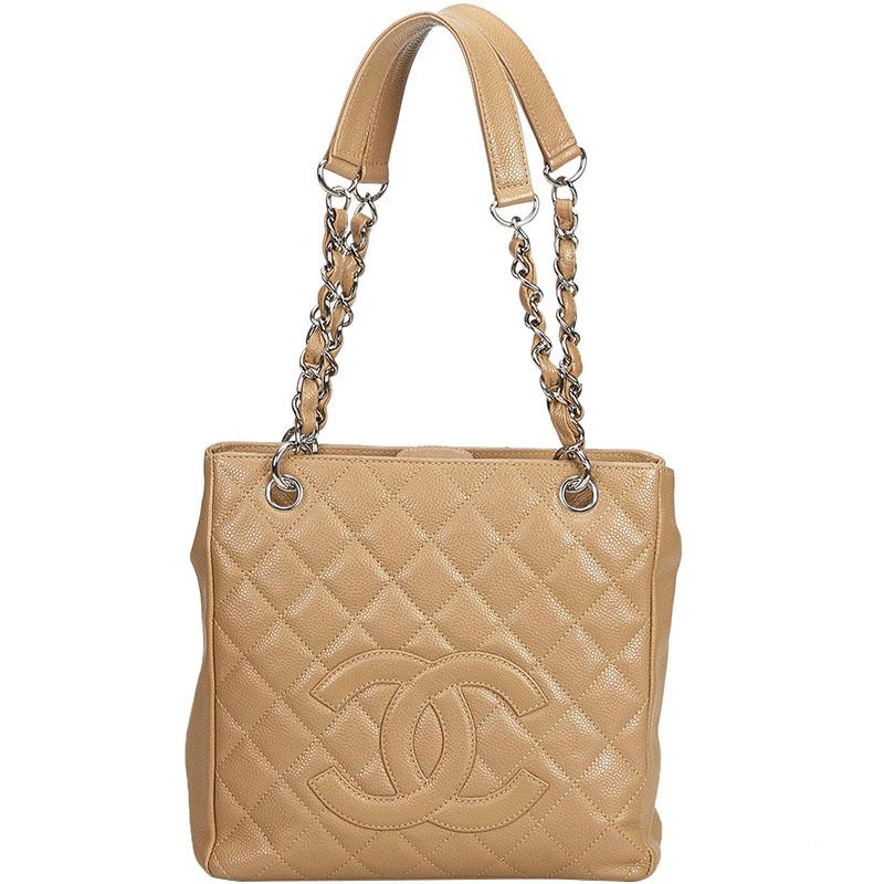 00943af4715363 Chanel Brown Caviar Petite Shopping Tote in Brown - Lyst