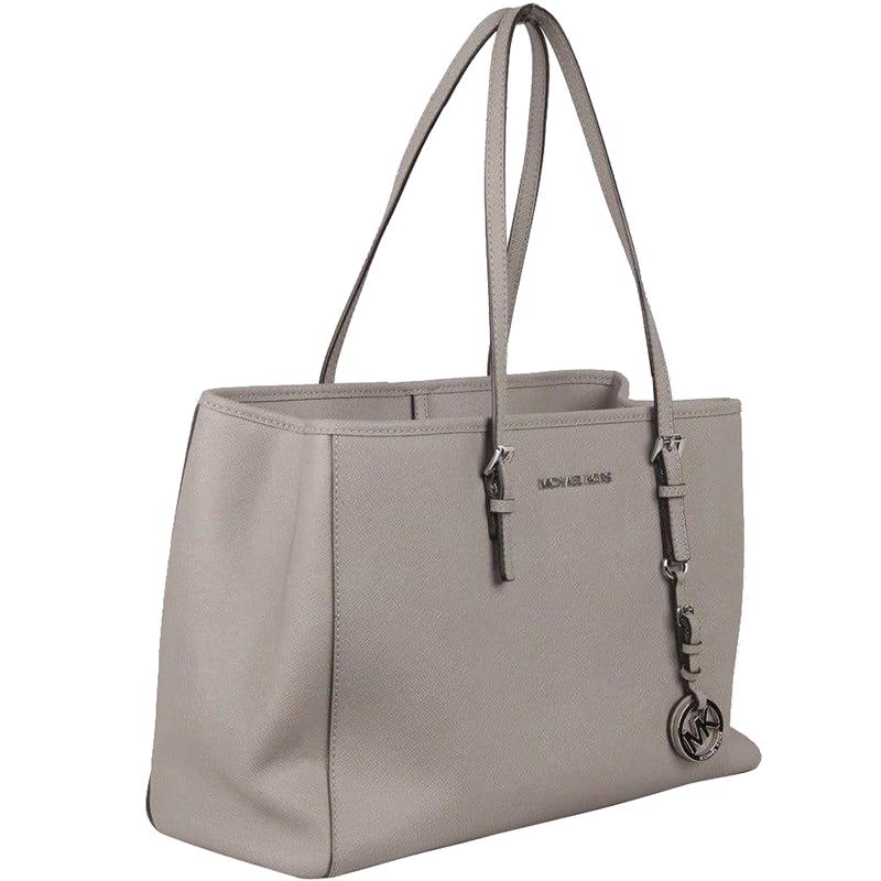 f8492c2a3c Michael Michael Kors Saffiano Leather Jet Set Travel Tote in Gray - Lyst