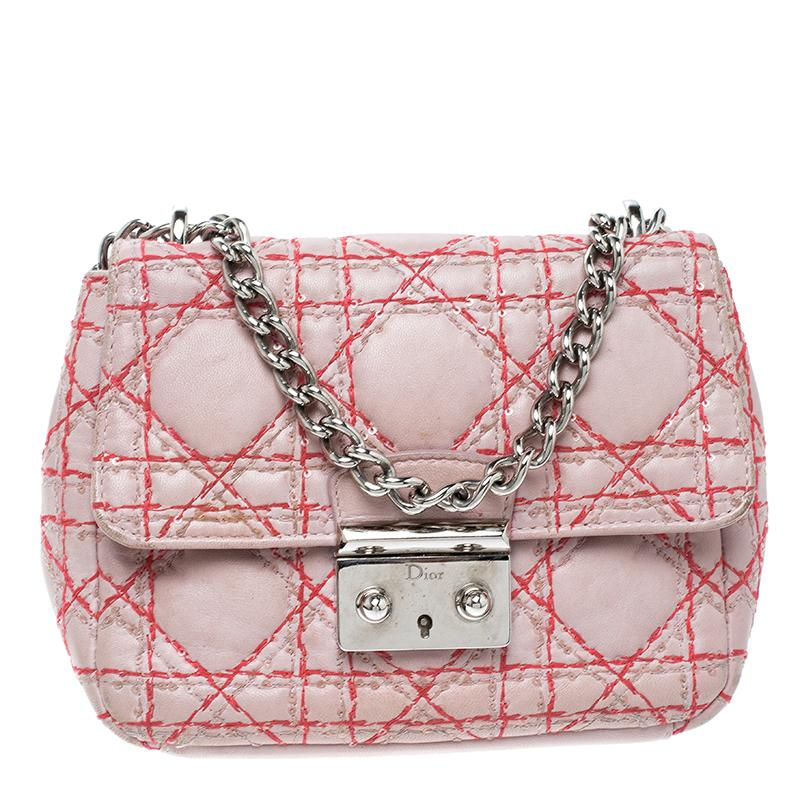 b6796c933996 Dior Blush Leather Miss Mini Sequin Embellished Chain Pouch in Pink ...