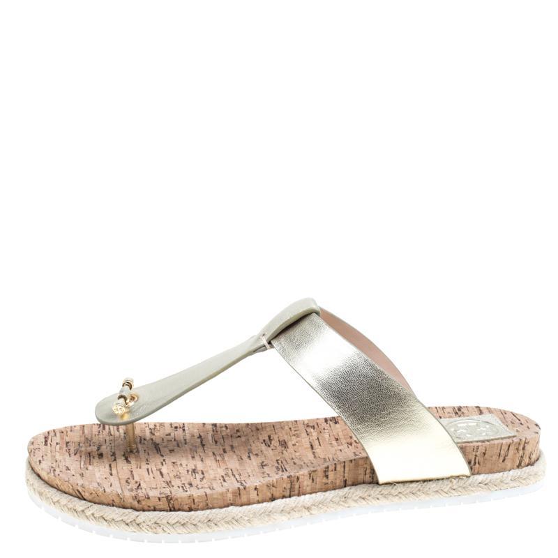79701dd0b6eb51 Tory Burch - Metallic Leather Cork Foot Bed Flat Thong Espadrille Sandals -  Lyst. View fullscreen