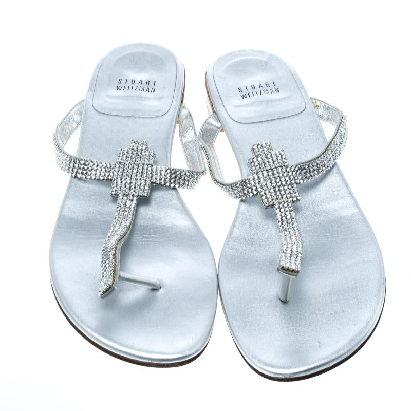 8386719b0 Stuart Weitzman - Metallic Silver Leather Vanity Crystal Encrusted T Strap  Flat Sandals Size 39.5 -. View fullscreen