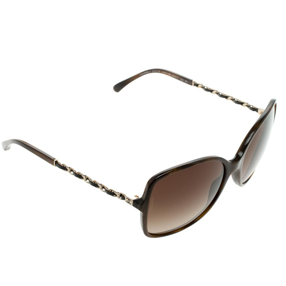 e1ee82c7b5207 Chanel 5210-q Tortoise Shell Chain Detail Square Sunglasses in Brown ...