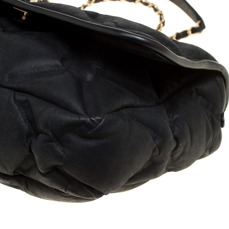 67597021b3a8 Chanel Black Quilted Iridescent Leather Chesterfield Flap Bag in ...