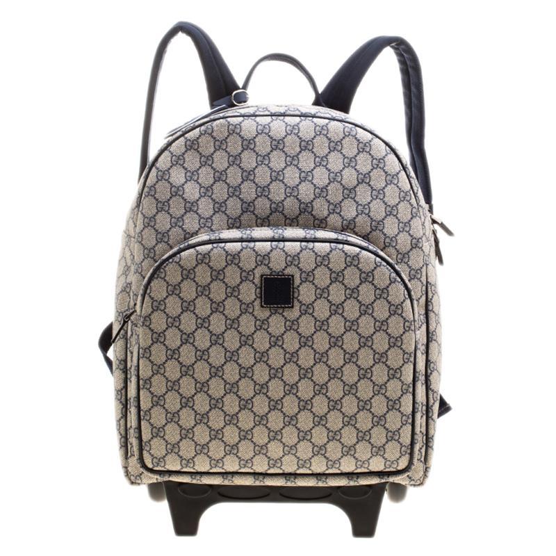 288e0cd37042 Gucci Beige/blue GG Supreme Canvas Trolley Backpack Bag in Blue - Lyst