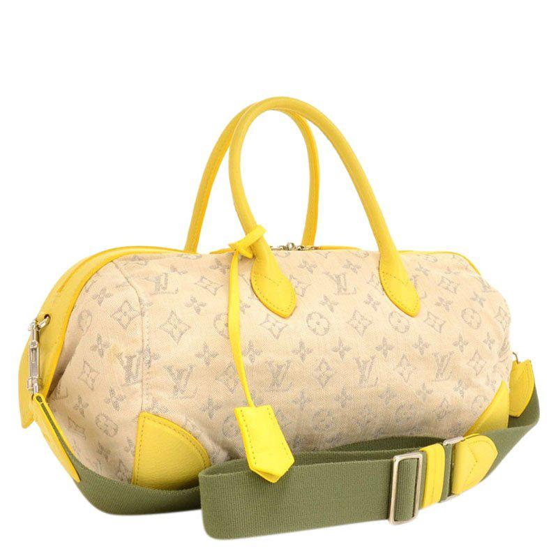2a0576b48763 Louis Vuitton - Yellow Jaune Monogram Denim Limited Edition Speedy Round Bag  - Lyst. View fullscreen