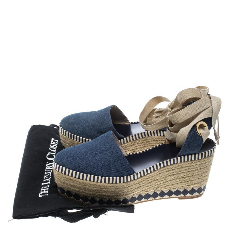 1b7660392822 Tory Burch - Blue Denim Dandy Ankle Wrap Espadrille Wedge Sandals - Lyst.  View fullscreen