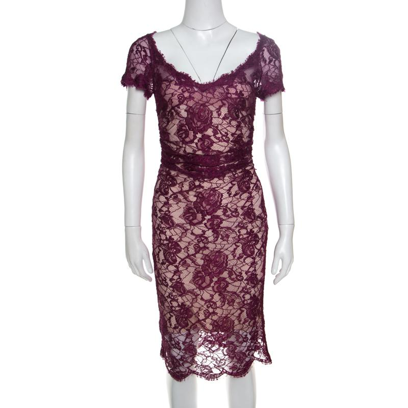 7ca4179554a1 Emilio Pucci Floral Lace Scalloped Trim Ruched Dress S in Purple - Lyst