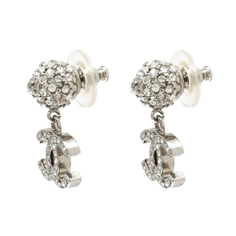 83ac06209ade29 Chanel Cc Crystal Studded Tone Drop Earrings in Metallic - Lyst