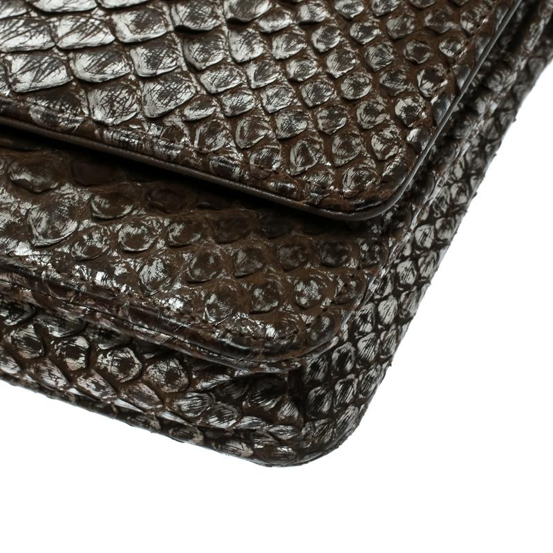 d67a642cdc27 Lyst - Chanel /grey Python Cc Wallet On Chain in Brown