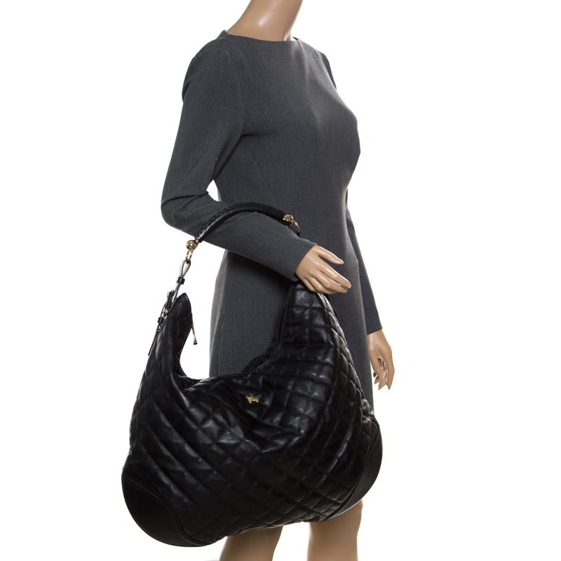 55634063b174 Lyst - Burberry Quilted Leather Hoxton Hobo in Black