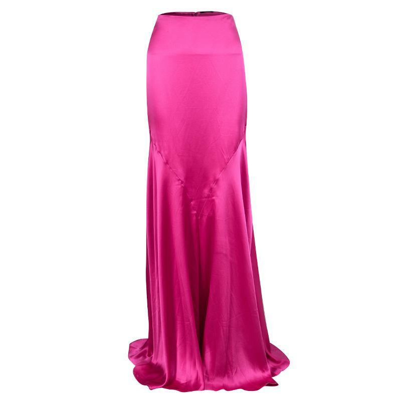 e4ad5b912e Roberto Cavalli Silk Maxi Skirt L in Pink - Lyst