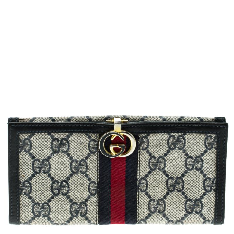 f74602dfba8b Gucci /beige GG Supreme Canvas Vintage Web Wallet in Blue - Lyst