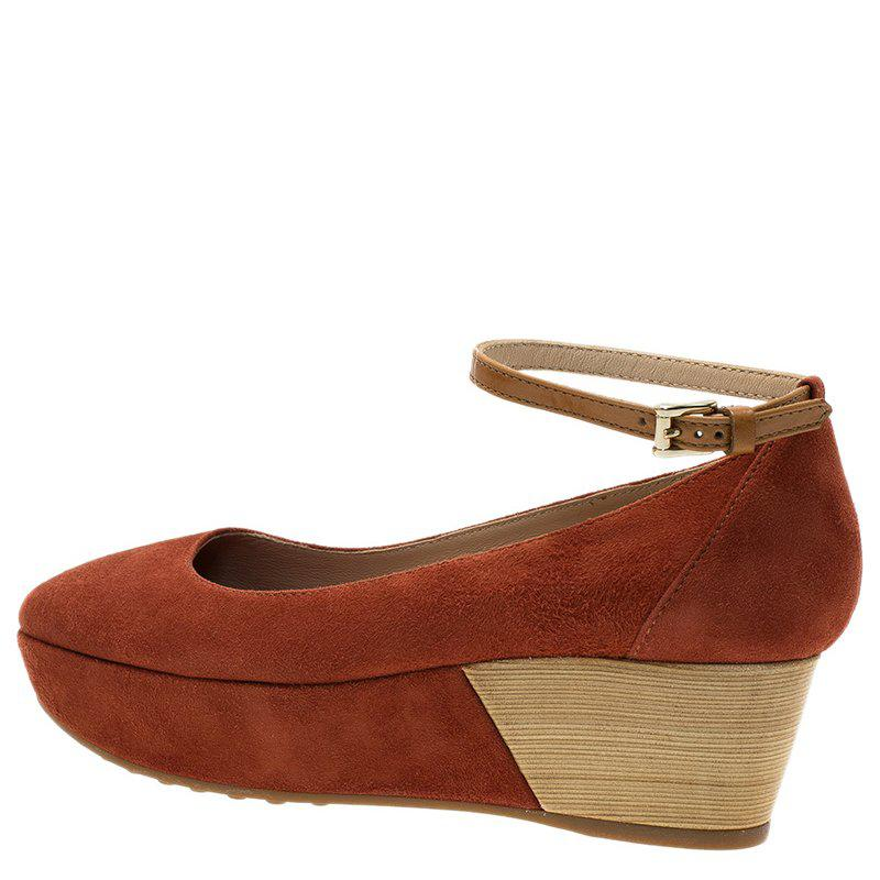39fe7b56e28 Lyst - Tod s Suede Ankle Strap Platform Wedge Pumps in Brown
