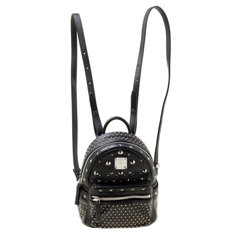 5b381dbee744 MCM Leather X Mini Studded Strak-bebe Boo Backpack in Black - Lyst
