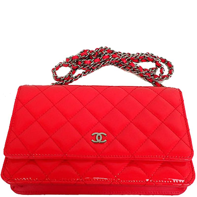 Chanel Pink Quilted Patent Leather Woc Clutch Bag in Red - Lyst 29e56e8b93