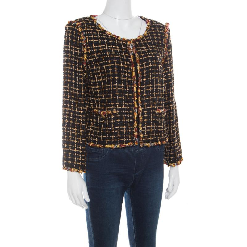 aabc07455af Chanel - Black Textured Beaded Edging Detail Cropped Boucle Jacket L - Lyst.  View fullscreen