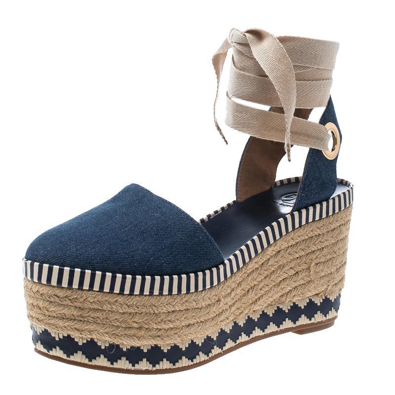 0d645273ab57 Tory Burch. Women s Blue Denim Dandy Ankle Wrap Espadrille Wedge Sandals