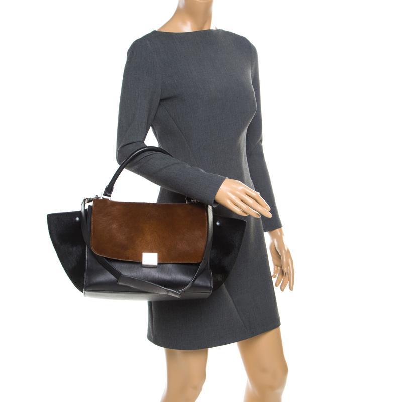 Céline - Black  brown Calf Hair And Leather Medium Trapeze Bag - Lyst. View  fullscreen 71488eb0b5703