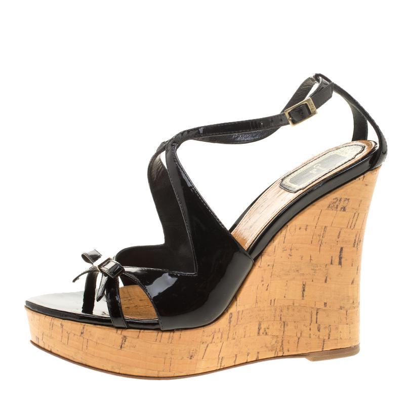 72b82c23699c4 Dior Christian Patent Leather Starlet Platform Cork Wedges in Black ...