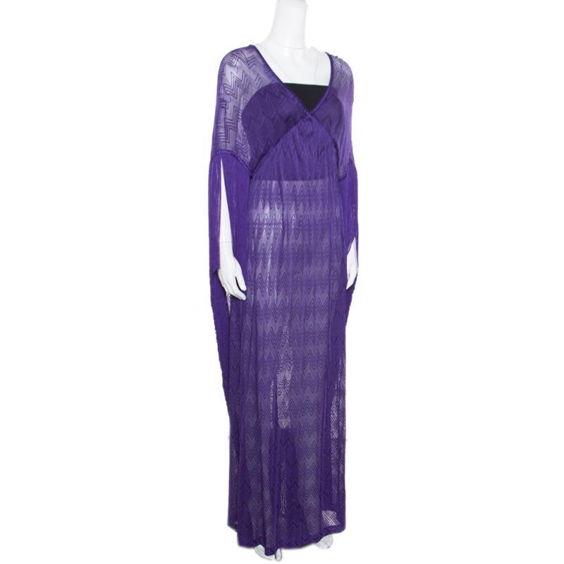 a62ef2f9fe17e0 Lyst - Missoni Mare Deep Purple Chevron Patterned Knit Fringed Maxi ...