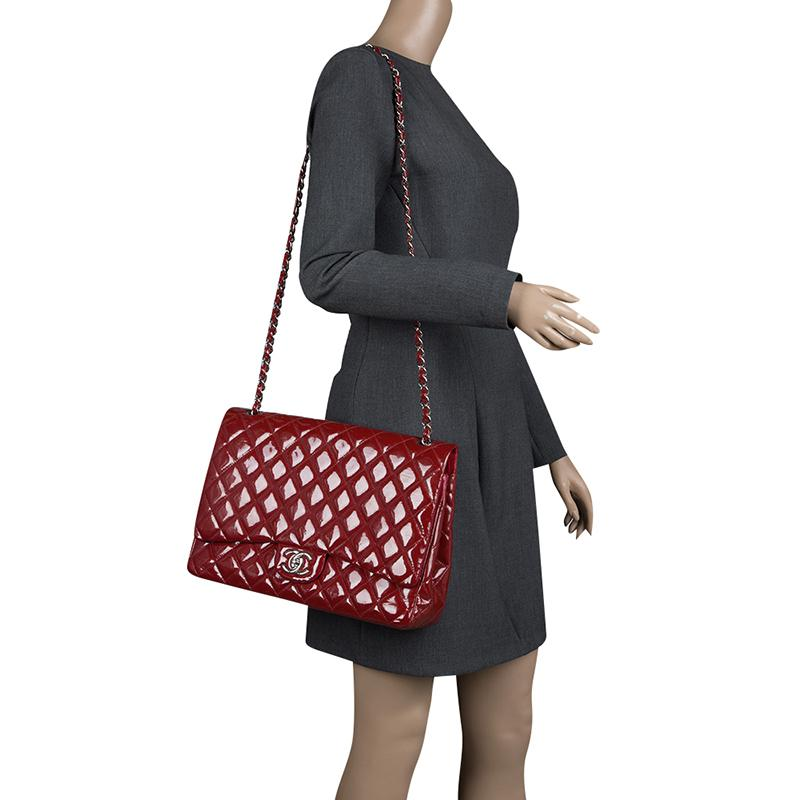2596c666e81186 Chanel Quilted Patent Leather Maxi Classic Double Flap Bag in Red - Lyst