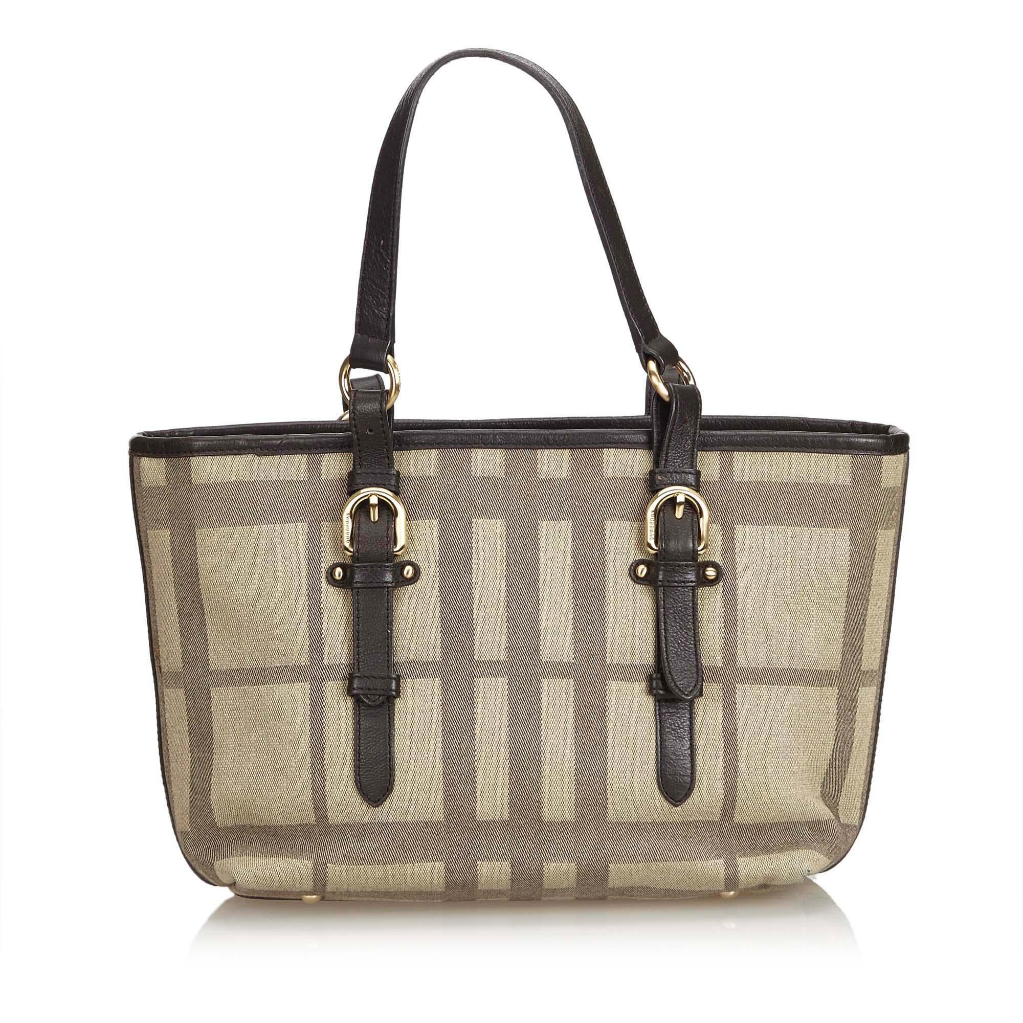 16903d977 Burberry Brown Plaid Canvas Tote Bag in Brown - Lyst