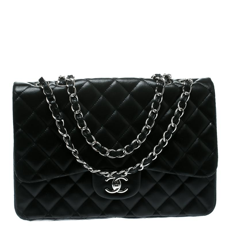 06c9b389aa551f Lyst - Chanel Quilted Leather Jumbo Classic Single Flap Bag in Black