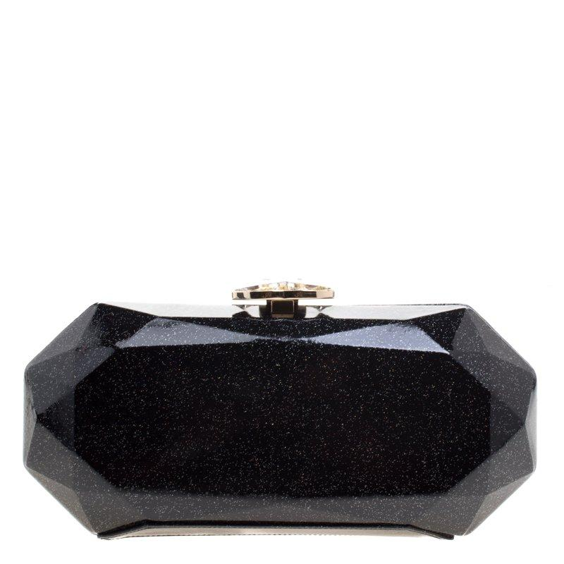 f4facf7111e Chanel Black Glitter Leather Crystal Jewel Charm Kiss Lock ...