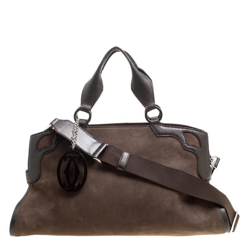 cb3865f003b8 Cartier Suede Nubuck Medium Marcello De Bag in Brown - Lyst