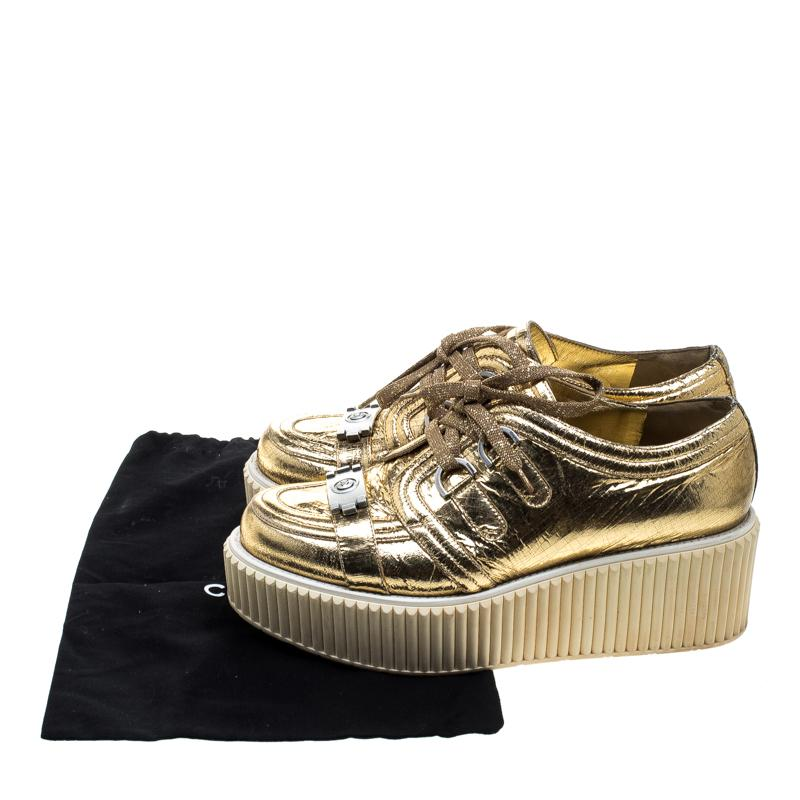 23131a27425 Lyst - Chanel Metallic Distressed Foil Leather Creepers Platform ...