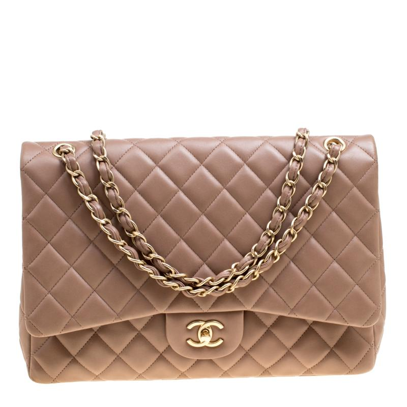 ea0baa5759f7 Chanel. Women s Brown Taupe Quilted Leather Maxi Classic Single Flap Bag