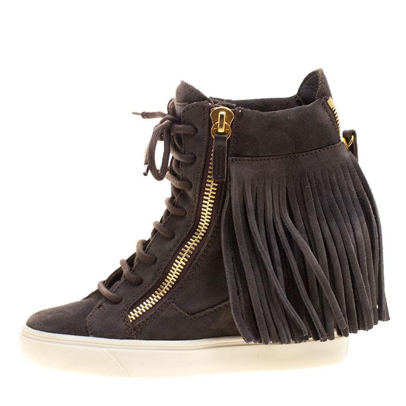d9d9038e495d Giuseppe Zanotti - Gray Suede Lorenz Fringe Wedge Sneakers - Lyst. View  fullscreen