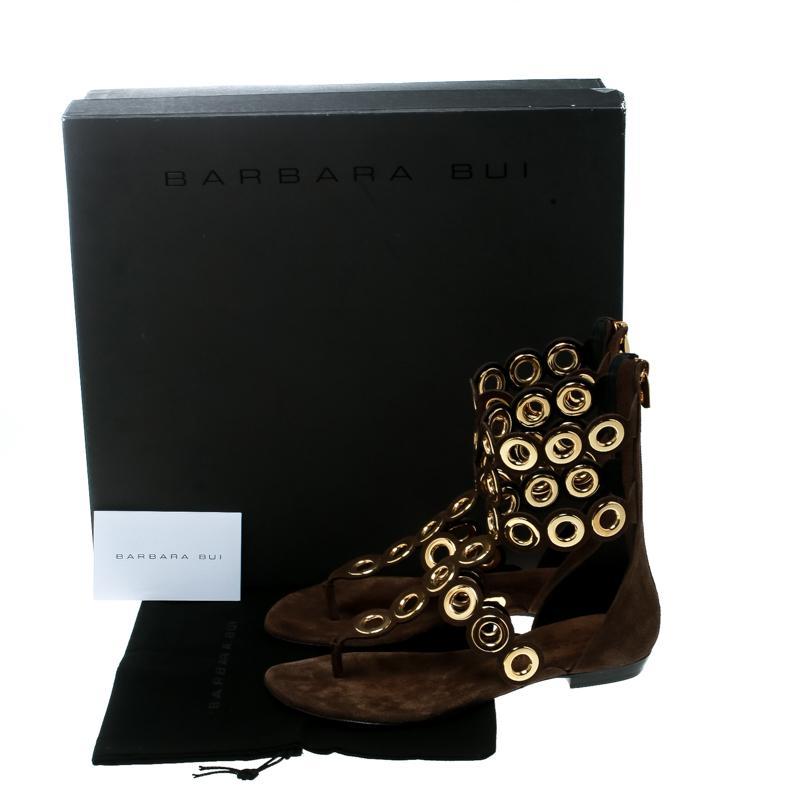 49b1cedc7 Barbara Bui - Brown Suede Eyelet Detail Flat Thong Sandals Size 37 - Lyst.  View fullscreen