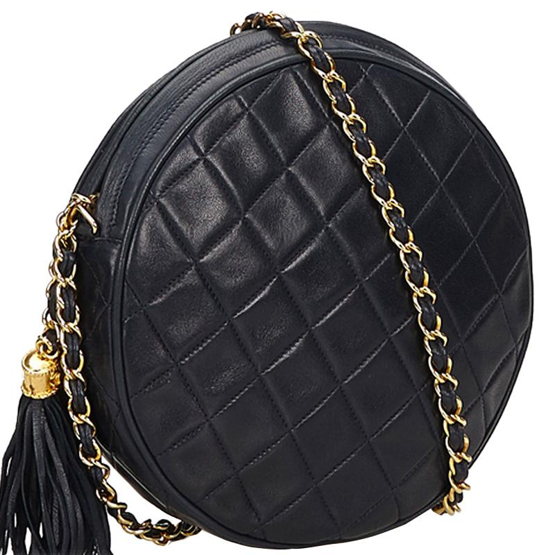 b831a0de08d6 Lyst - Chanel Navy Blue Quilted Leather Round Tassel Shoulder Bag in ...