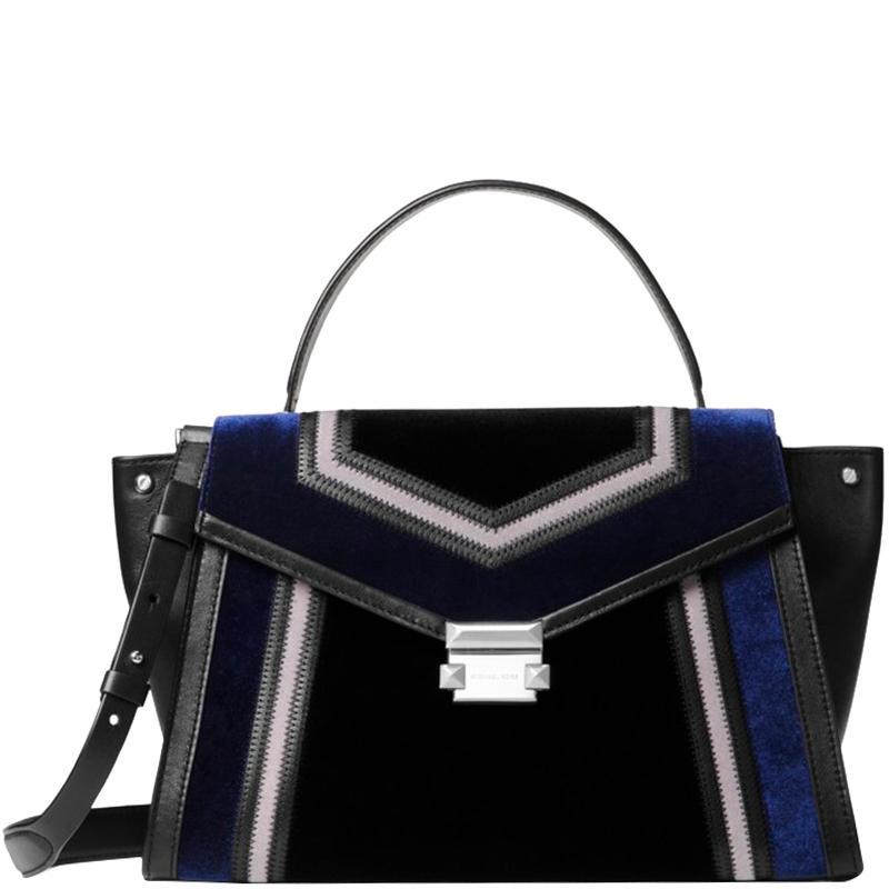 5dcb67e2ce36 Michael Kors. Women's Black Tricolor Velvet And Leather Large Whitney  Satchel Bag