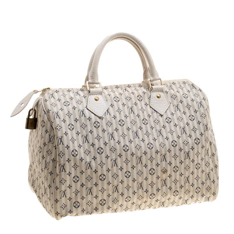 5ba6d6f2b373 Louis Vuitton White beige Monogram Mini Lin Croisette Speedy 30 in ...