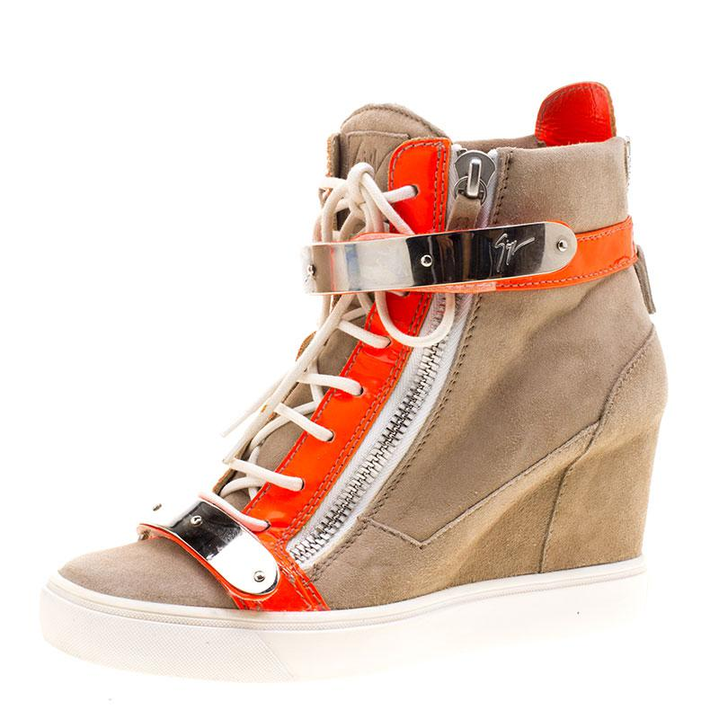536c3da4821 Giuseppe Zanotti. Women s Natural Suede And Fluorescent Orange Patent  Leather Wedge Sneakers