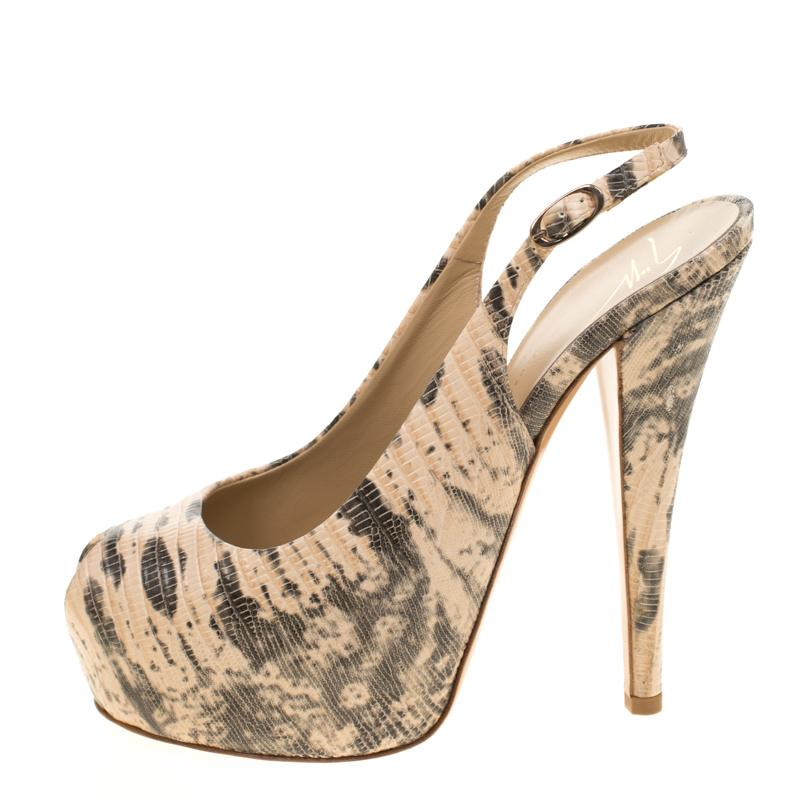 973b0d368c9 Lyst - Giuseppe Zanotti Embossed Lizard Leather Monro Peep Toe ...