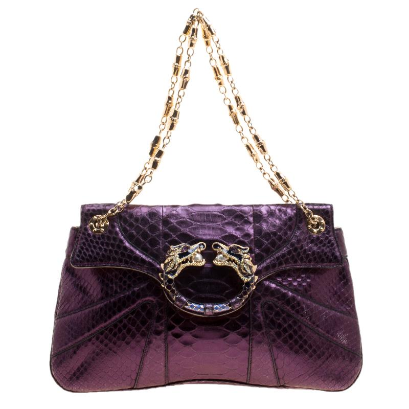 798136e8c04 Gucci Purple Python Tom Ford Jeweled Dragon Chain Clutch in Purple ...