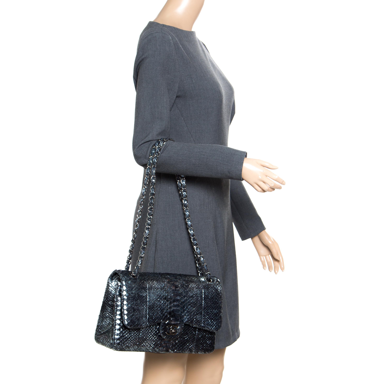 Chanel Aquamarine Black Python Jumbo Classic Double Flap Bag in ... 6fc645f8c38e8
