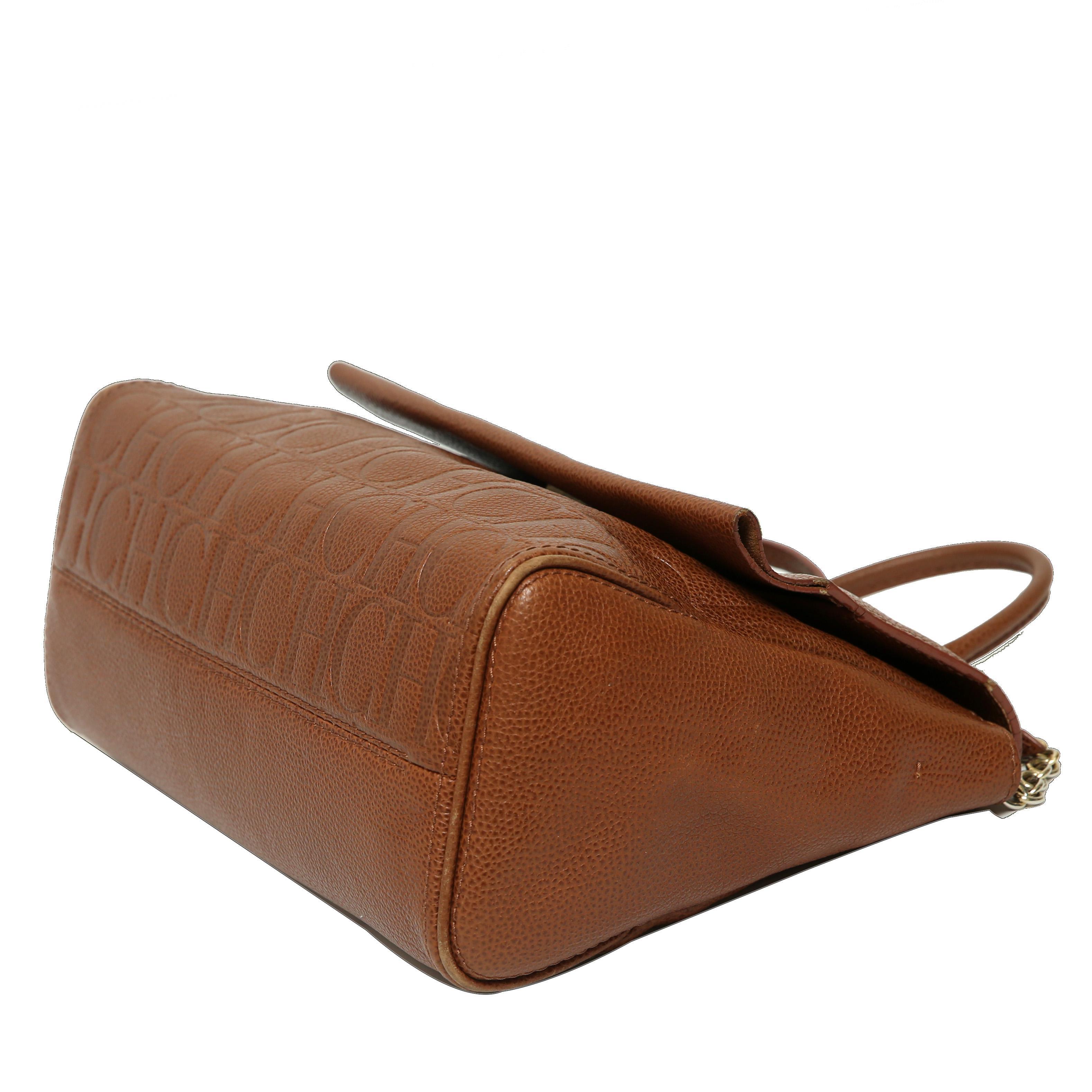 Lyst - Carolina Herrera Leather Minuetto Flap Bag in Brown ff9a038d0fb9b