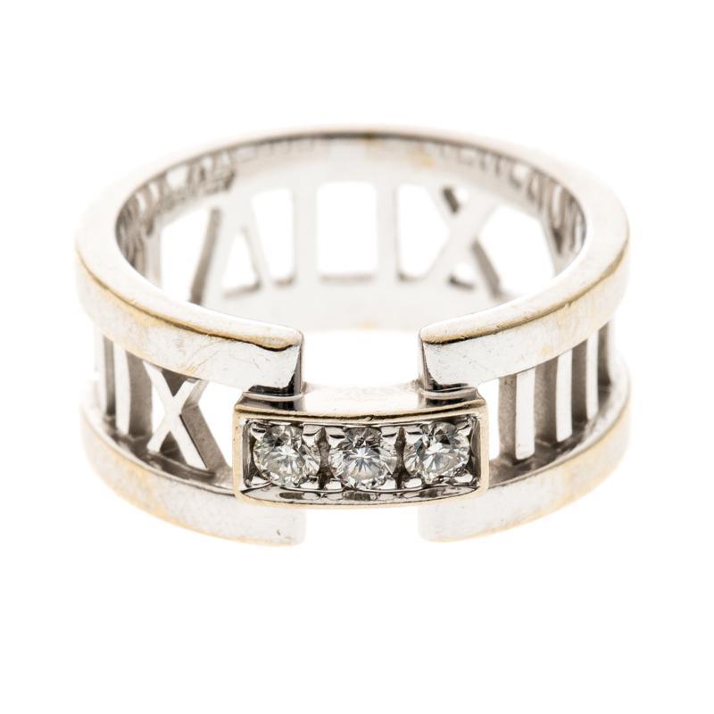 fadfc5906 Tiffany & Co - Metallic Atlas Diamonds 18k White Gold Open Band Ring Size 54  -. View fullscreen