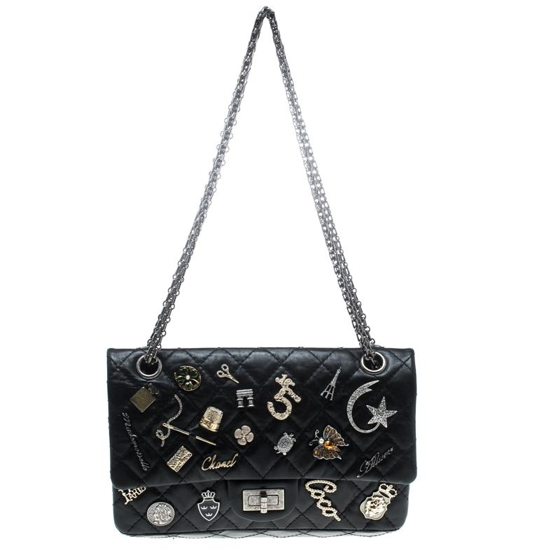 5808e493d519 Chanel. Women's Black Quilted Charm Embellished Leather 2.55 Reissue 225  Flap Bag