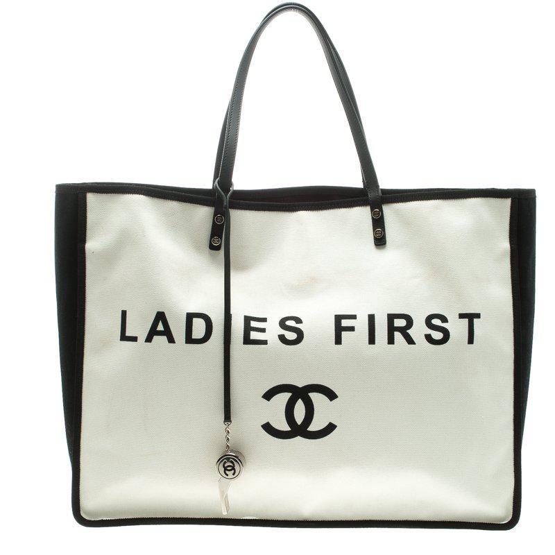 e218db96e5a9be Chanel /black Canvas Ladies First Shopper Tote in White - Lyst