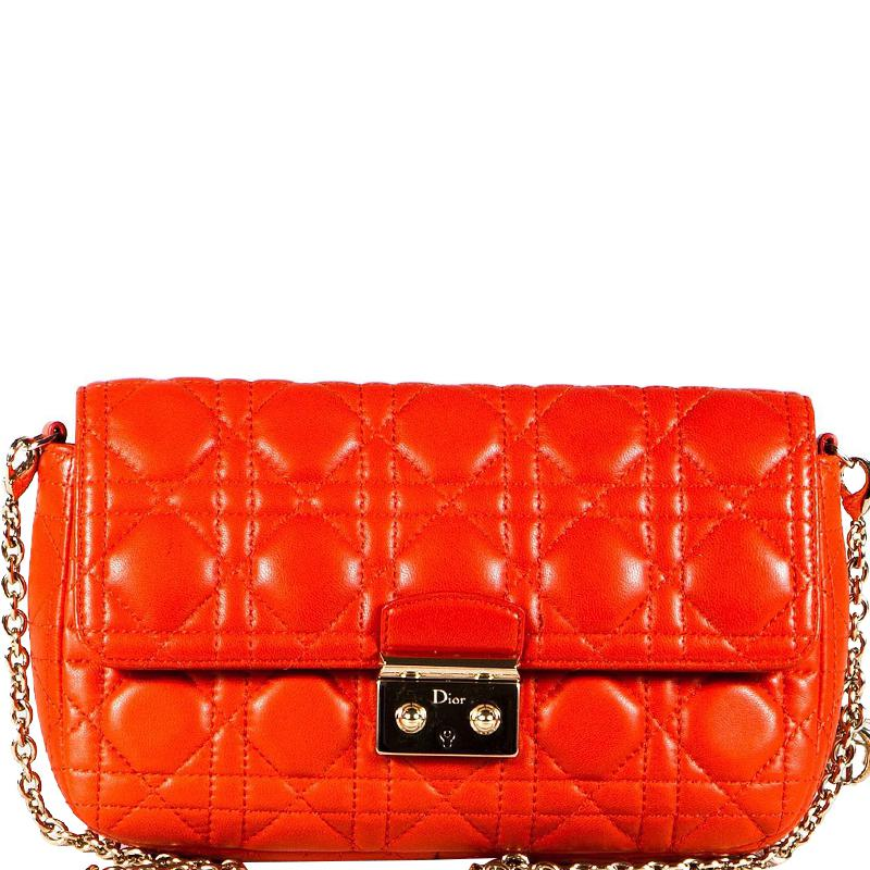 f0c796a39d1c Lyst - Dior Cannage Quilted Leather Miss Promenade Clutch Bag in Orange