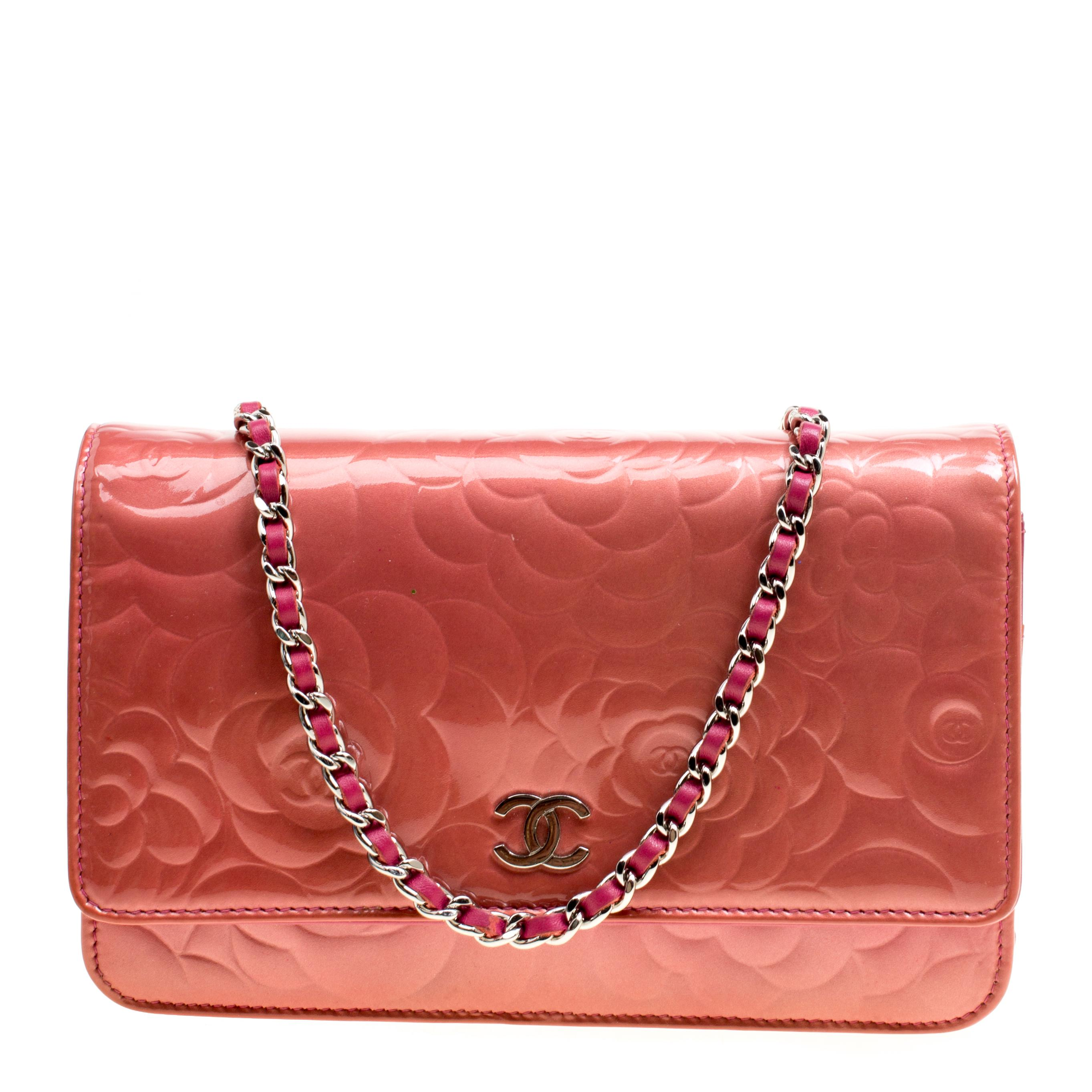 3606b2a9857 Lyst - Chanel Rose Patent Leather Camellia Wallet On Chain in Pink