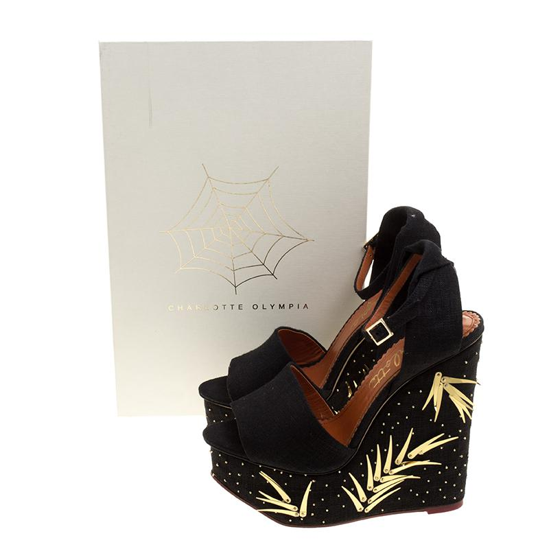 3bfd9f442f84 Charlotte Olympia - Black Canvas Mischievous Peep Toe Embellished Wedge  Sandals - Lyst. View fullscreen