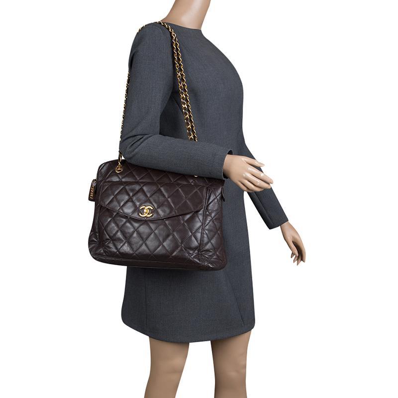 89ea99cd25d6d5 Chanel Quilted Leather Vintage Front Pocket Shoulder Bag in Brown - Lyst